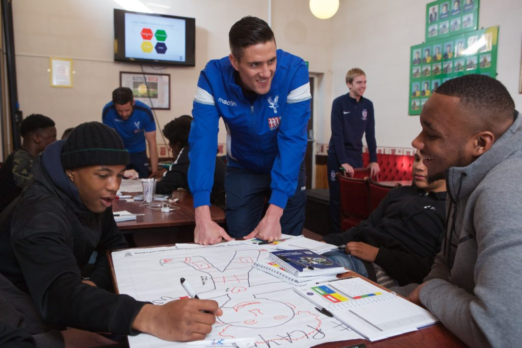 28/03/17 pic: © Sam Friedrich tel: +44 7977 482 272 www.acumenimages.com **FREE TO USE IF PROMOTING CPFC FOUNDATION** Young people taking part in a theory based session whilst doing their FA Level 1 coaching badge at Sutton Utd, Sutton meet players from Crystal Palace Football Club