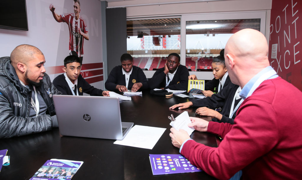 The Charter School planning their presentation at St Mary's stadium before representing Palace for Life at the Premier League Enterprise Challenge Play-Off