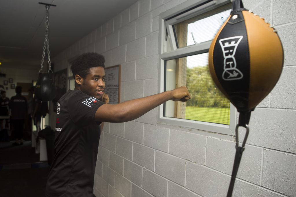 Young person taking part in one of the boxing sessions