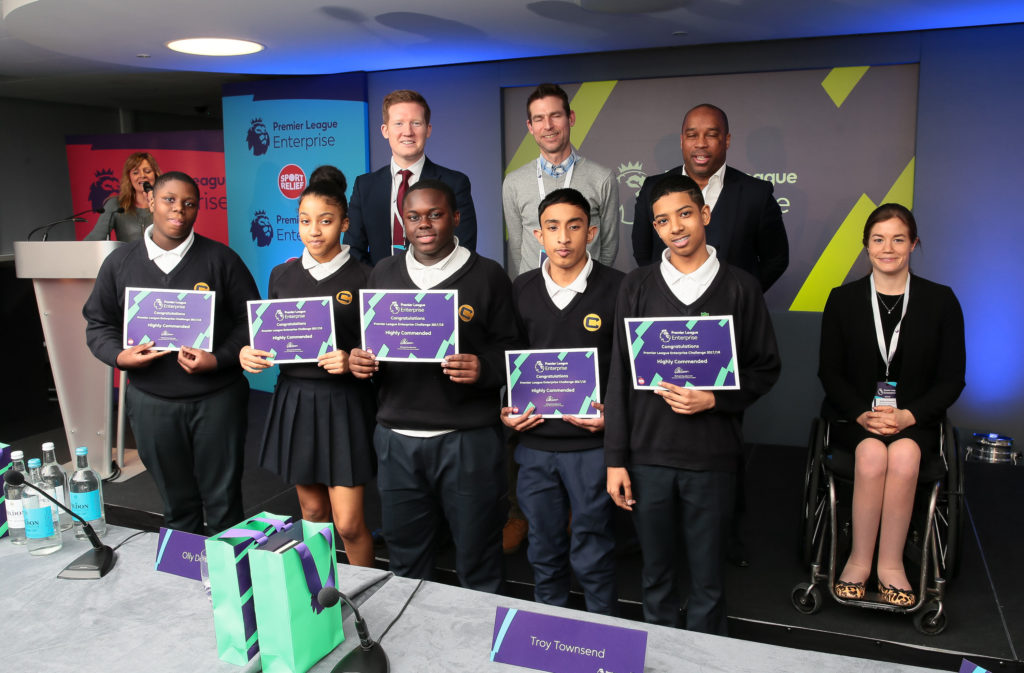 The Charter School collecting their certificates after representing Palace for Life Foundation at the Premier League Enterprise Challenge Play-Off