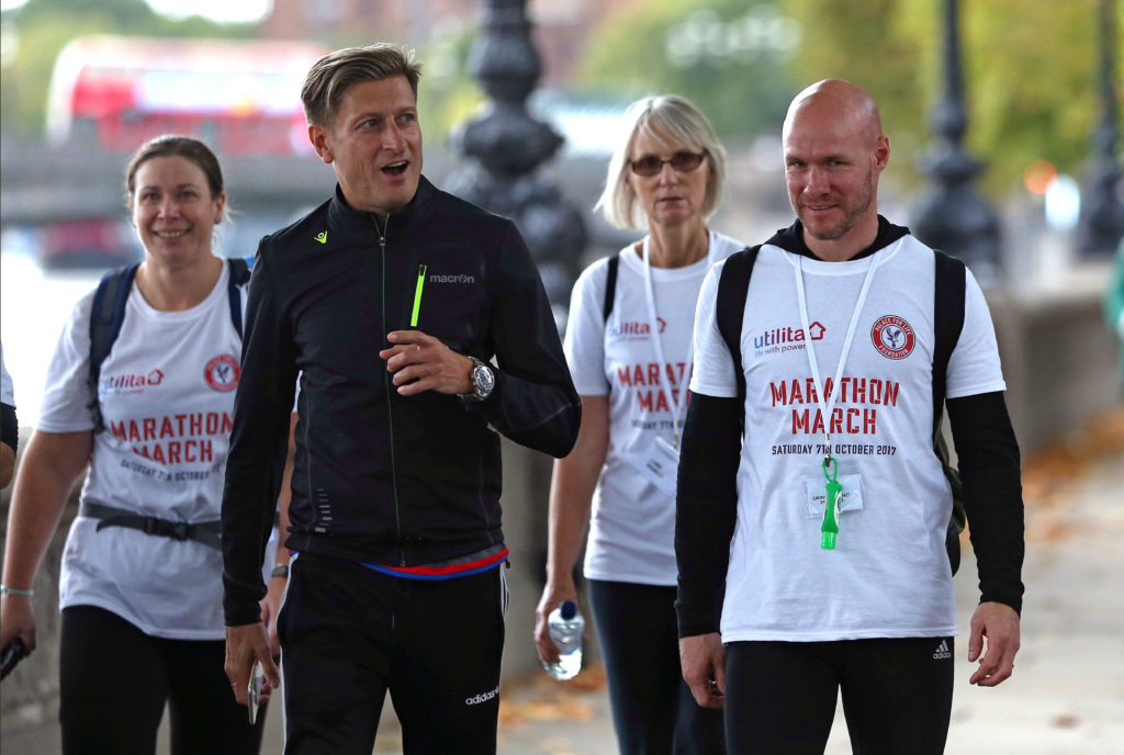 Andy Johnson, Steve Parish and some of the Marathon Marchers taking part in 2017