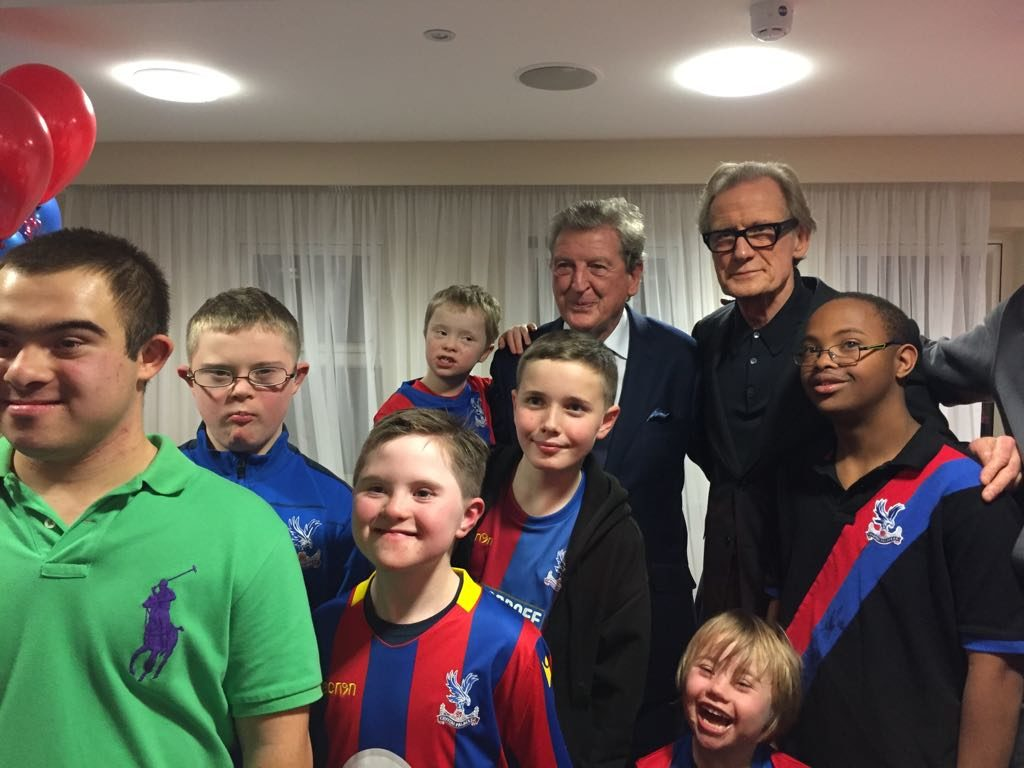 The DS Eagles enjoying the CPFC Disabled Supporters' Christmas Party with Crystal Palace manager Roy Hodgson