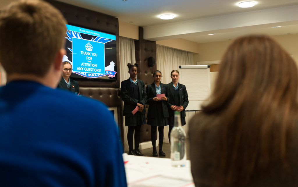 Carshalton High School for Girls presenting at the PL Enterprise Challenge