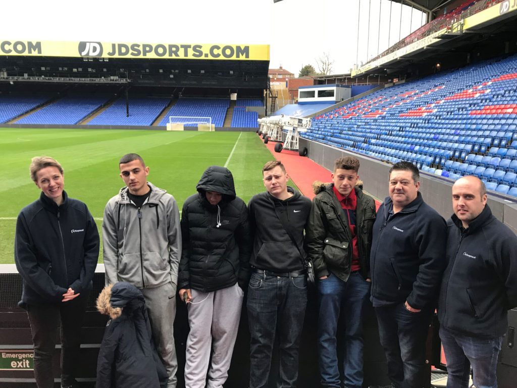 Youngsters from the PL Works programme at Selhurst Park