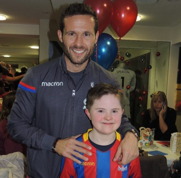 Ruairi with Yohan Cabaye at the Crystal Palace Disabled Supporters Christmas Party