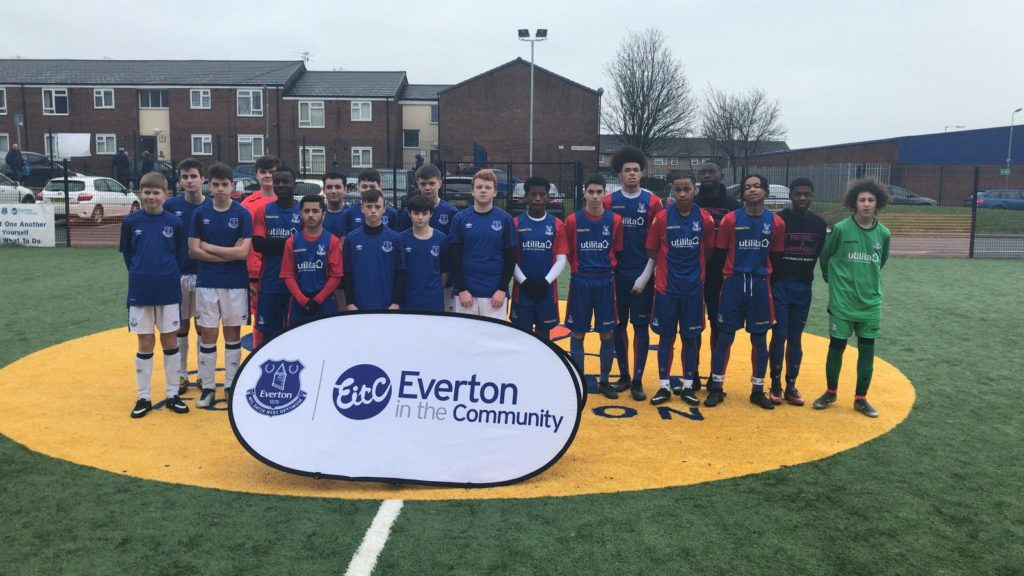 Players from the Kicks teams at Crystal Palace and Everton before the game