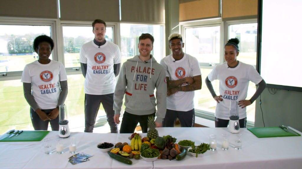 Wayne Hennessey, Patrick van Aanholt, Pam McRoberts, Natasha Ogbe and Palace TV's Chris Grierson filming the Healthy Eagles Smoothie Challenge