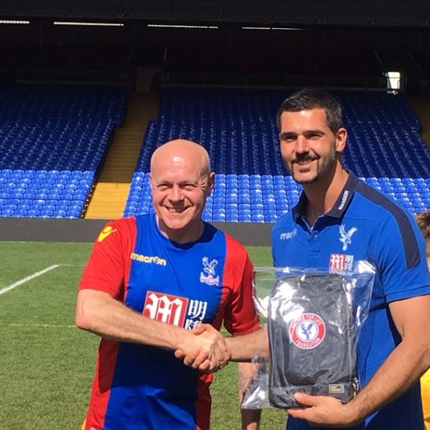 Graham Orr with Julian Speroni on the pitch