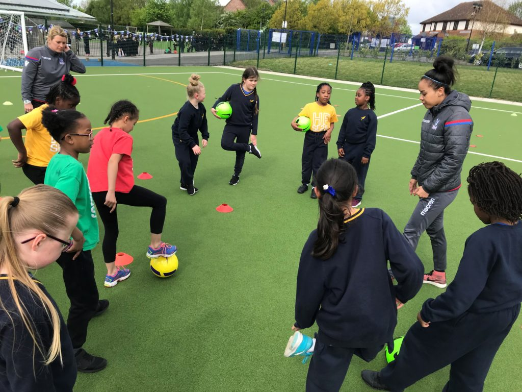 Pam coaching at Girls Football Week