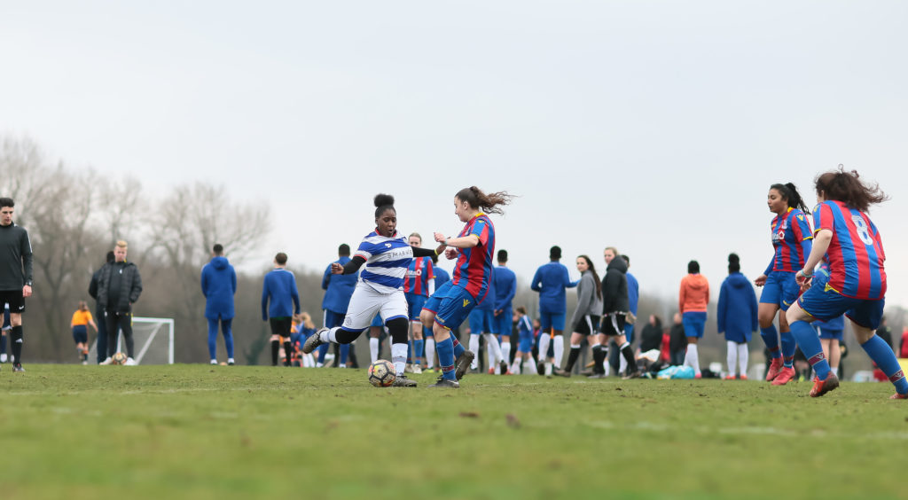 The Palace girls team in action against QPR