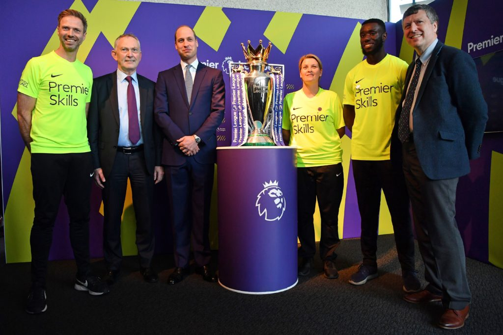 Prince William with Richard Scudamore and Foundation coaches at the event