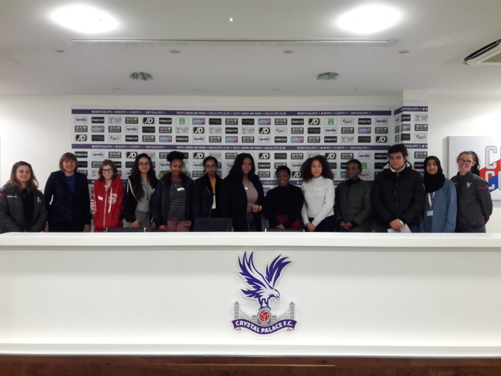 The team gathered together in the Selhurst Park media suite