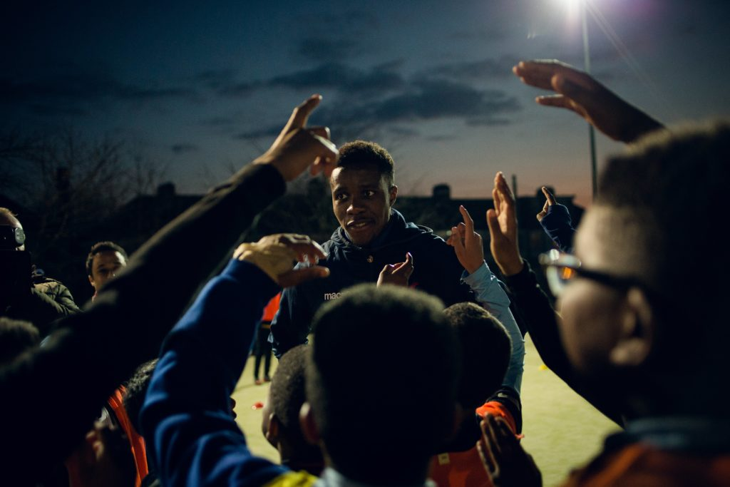Zaha with the kids at the Kicks session