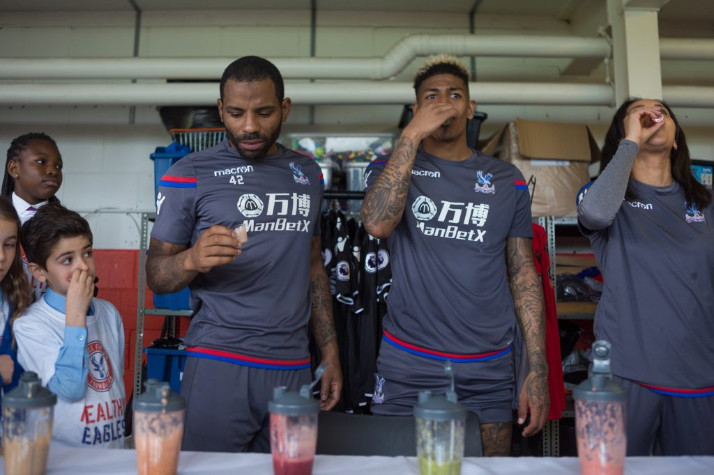 Players tasting smoothies