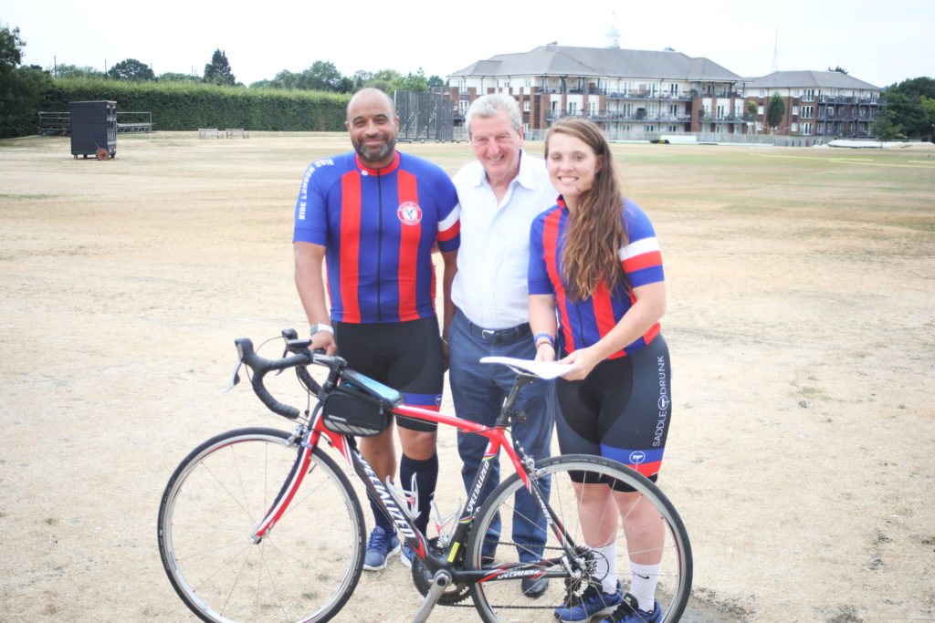 Palace manager Roy Hodgson with riders Charlotte and Donald