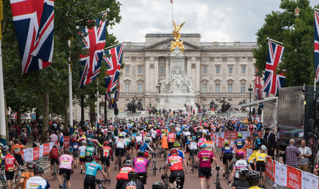 Riders finishing outside Buckingham Palace