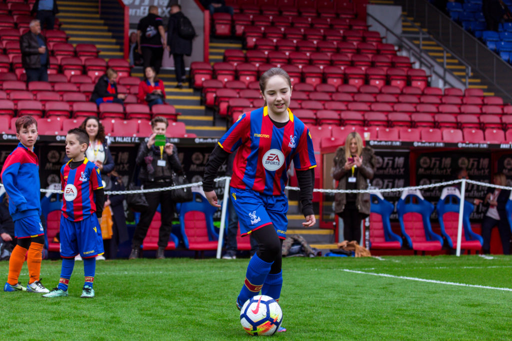 Veronica on the pitch at Selhurst Park