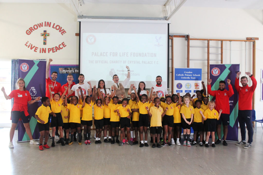 James McArthur, Joel Ward, Ciara Watling and Jordan Butler at St Chad's Primary School