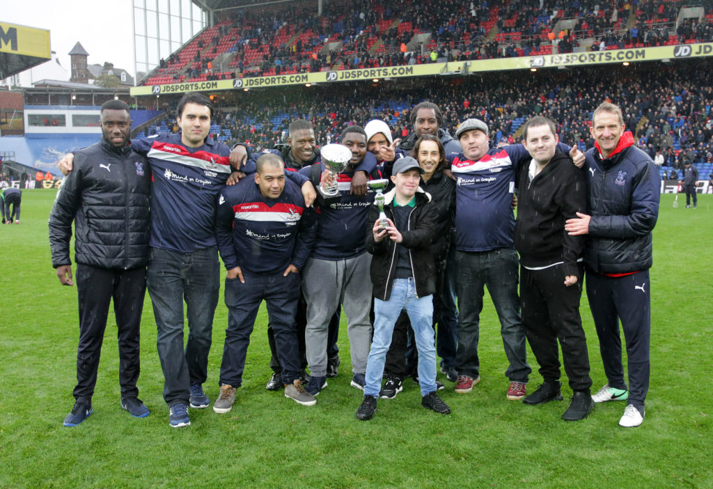 Kelvin and the Croydon Eagles on the pitch at Selhurst Park