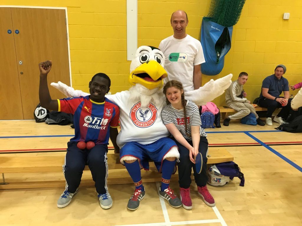 Young people and Eagle mascot at Sports Inclusion Day